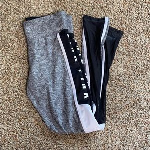 Gray PINK leggings with black mesh and white sides